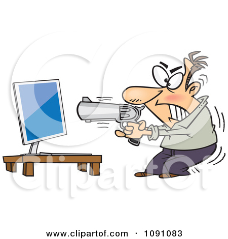 Clipart Enraged Man Ready To Commit Compucide.