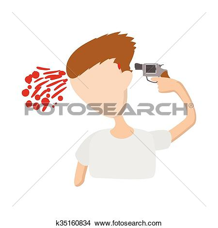 Clipart of A man commits suicide icon, cartoon style k35160834.