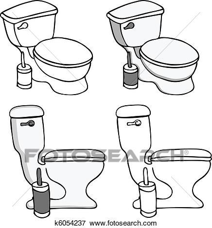 Toilet Commode Set Clip Art.