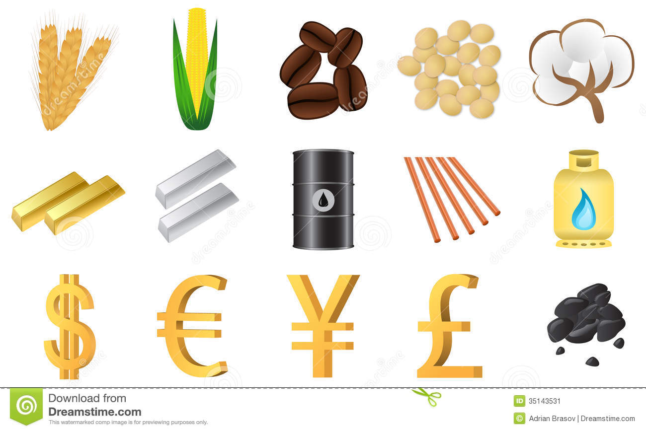 Traded Commodities Stock Image.