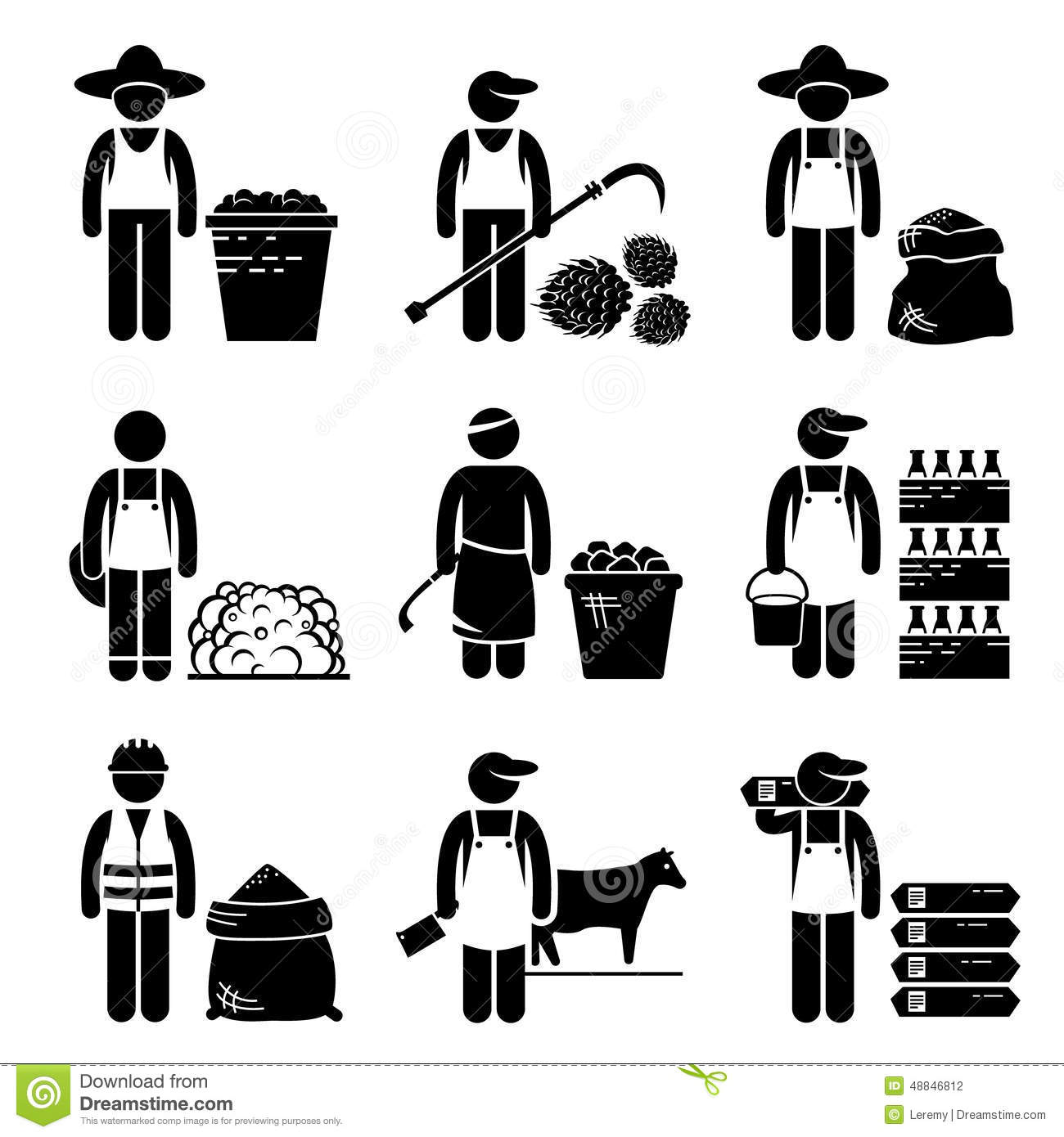 Commodities Food Agricultural Grains Meat Icons Stock Vector.