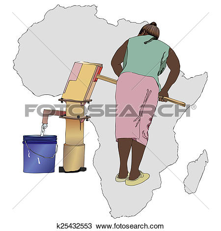 Drawing of Water essential commodity for Africa k25432553.