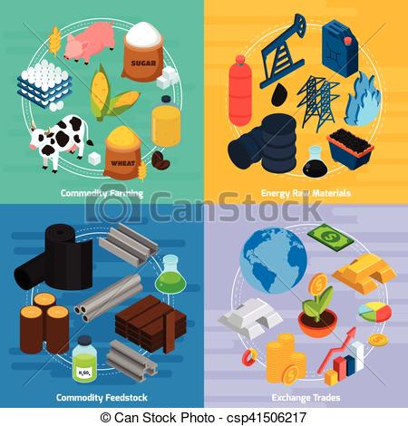 Vector Clip Art of Commodity Concept Icons Set.