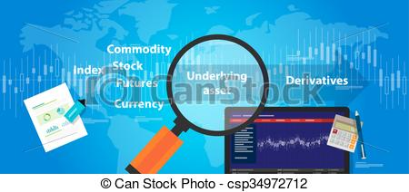 Vector Clip Art of underlying assets derivative trading stocks.