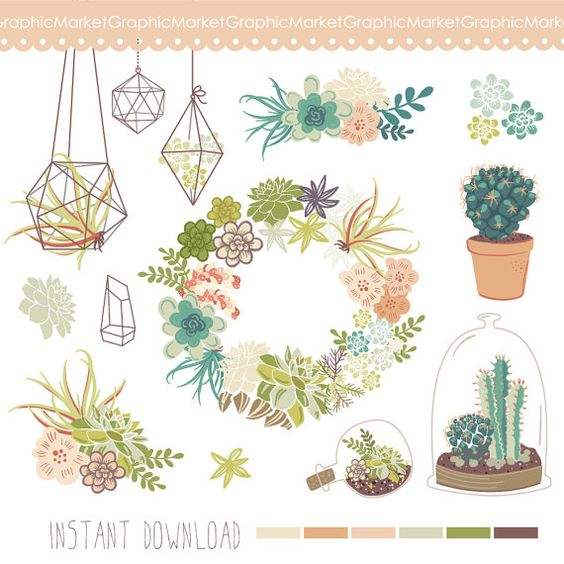 Wedding Succulents Floral clipart, Digital Wreath, Floral Frames.