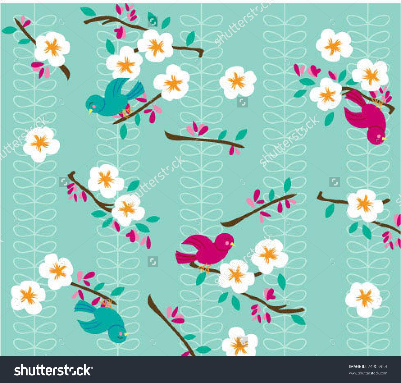 Happy Bird Cherry Blossom Vector Graphic Stock Vector 24905953.