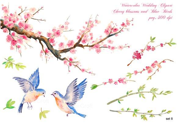 wedding clipart cherry blue birds ~ Graphics on Creative Market.