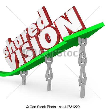 Clip Art of Shared Vision Common Goal Workers Cooperate.