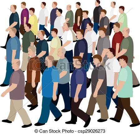 Vectors Illustration of Big crowd of men moving to the common.