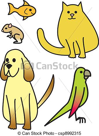 Clipart Vector of Five Cartoon Pets.