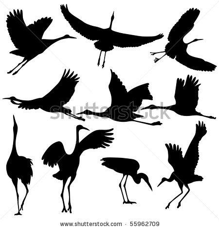 Animal crane clipart silhouette.