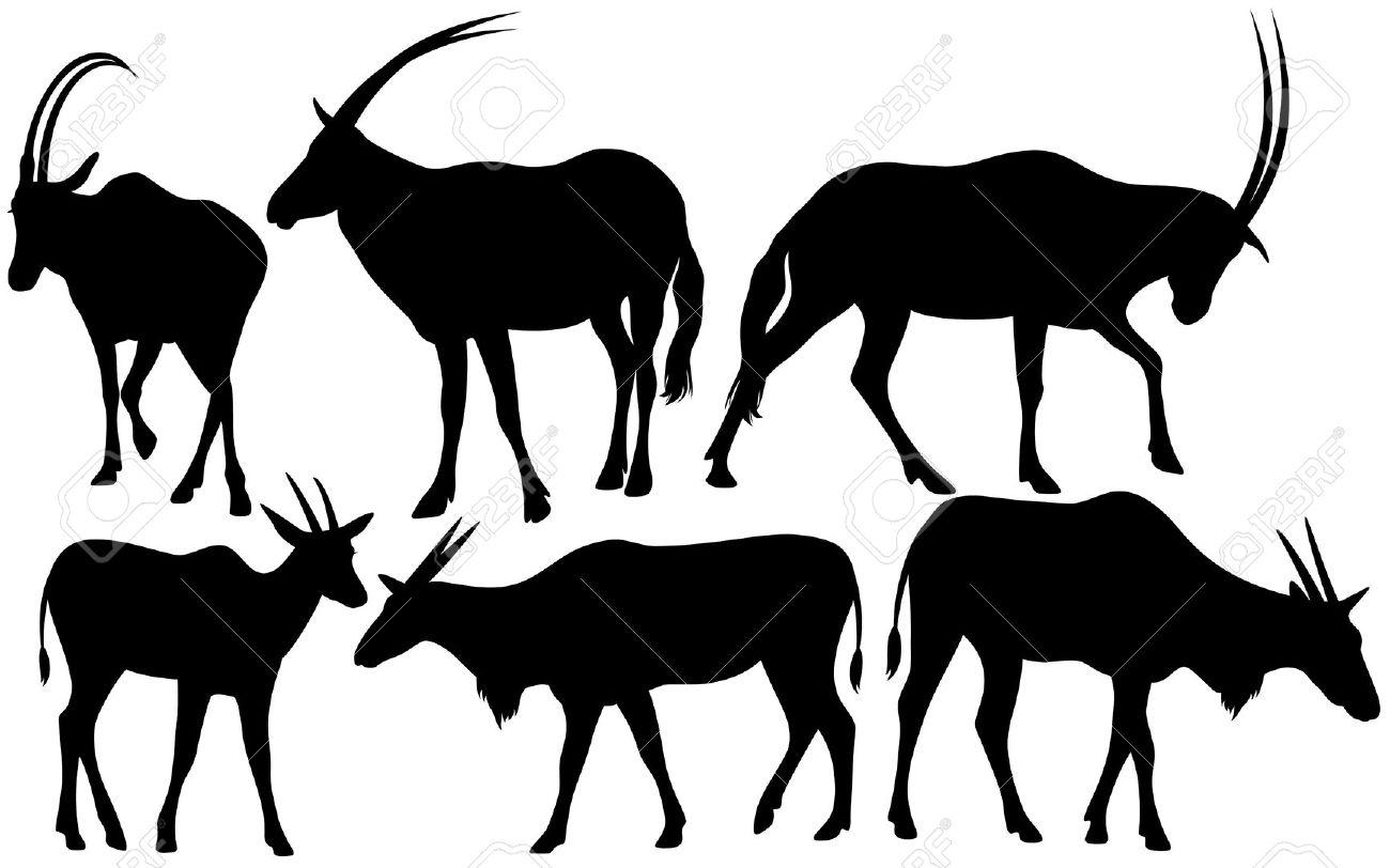 Antelopes (Scimitar Oryx And Common Eland) Silhouettes.