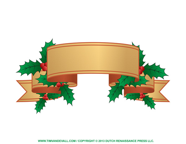 Free holly clip art, border and Christmas decoration images.