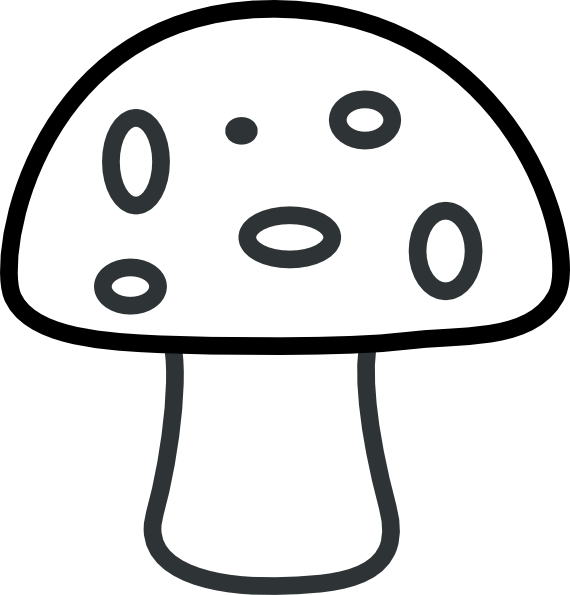 Black And White Mushroom Clipart.