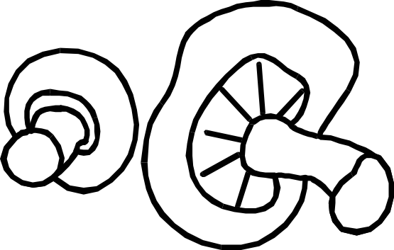 Sliced mushroom clipart black and white.