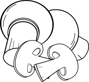 Sliced mushroom clipart black and white.