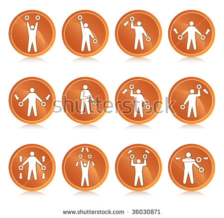 A Range Of Airport Marshaling Icons Demonstrating The Common Moves.