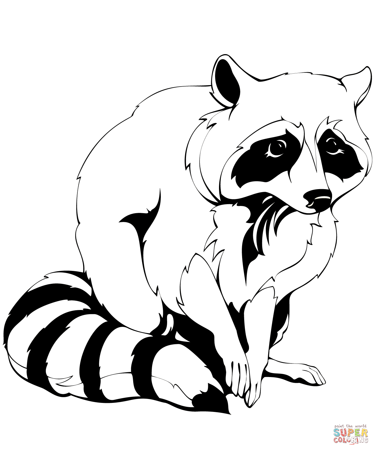 Raccoons coloring pages.