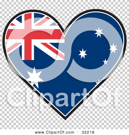 Clipart Illustration of a Heart Shaped Australian Flag With Union.