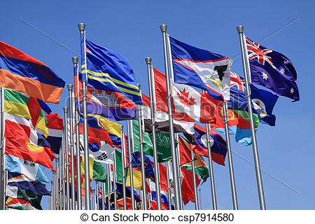 Stock Photography of British Commonwealth and world flags is.