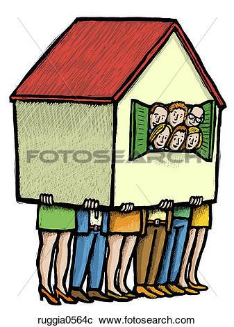 Stock Illustrations of Communal Living ruggia0564c.