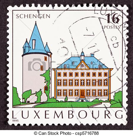 Stock Illustration of Luxembourg Postage Stamp Schengen Agreement.