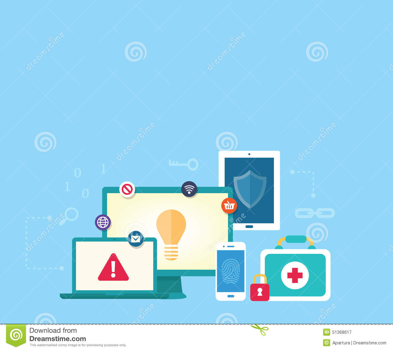 Data Communication And Online Shopping Security Concept Stock.