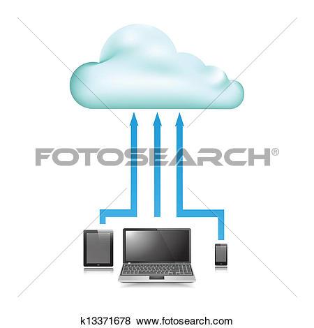 Clip Art of Cloud Store data upload communication device k13371678.