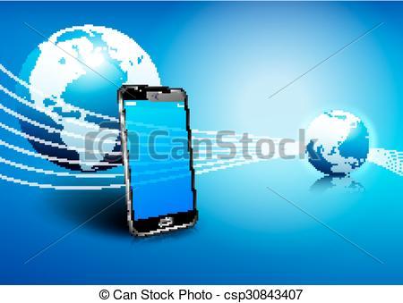 Vector Clipart of Phone Global Digital Communication.