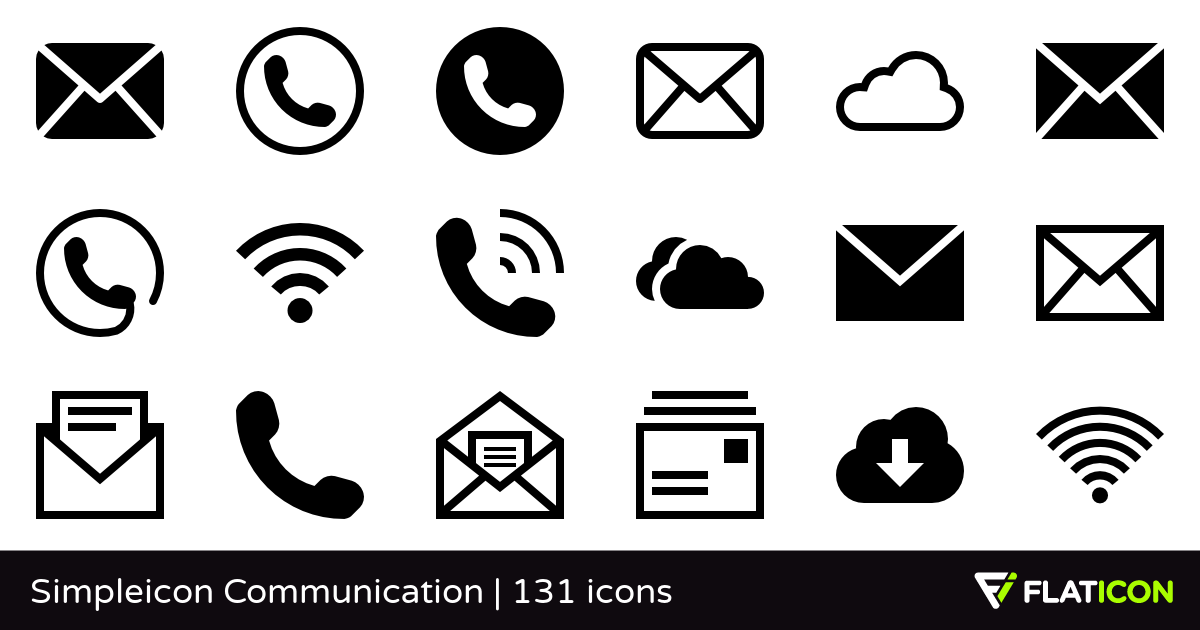 Simpleicon Communication +130 free icons (SVG, EPS, PSD, PNG files).