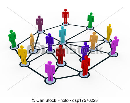 Clip Art of 3d people business communication network.