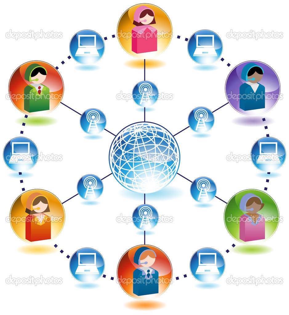 Global Business Communication Network — Stock Vector.