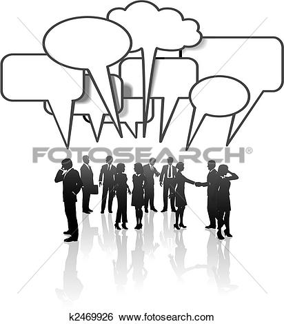 Clip Art of Communication Network Media Business People Team Talk.
