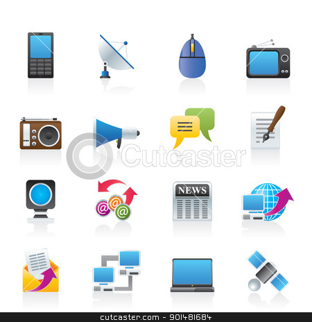 Communication and Technology icons stock vector.