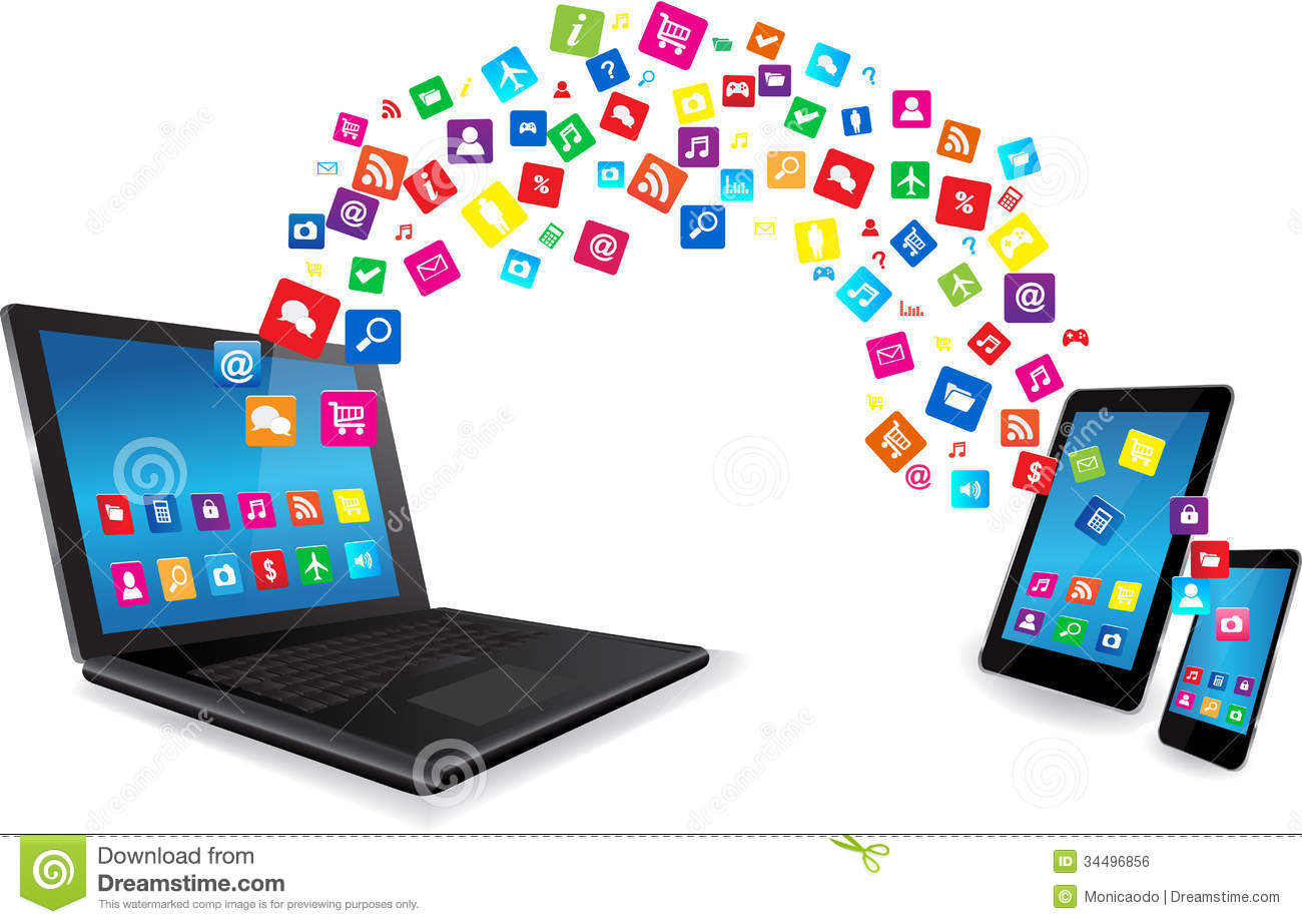Laptop, Tablet PC And Smart Phone With Apps Royalty Free Stock.