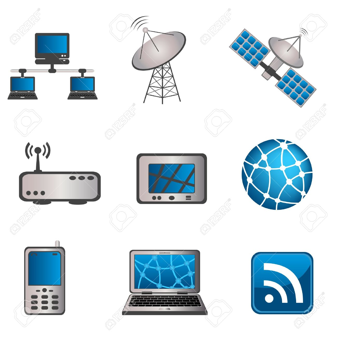 Communication, Technology And Computer Icon Set Royalty Free.