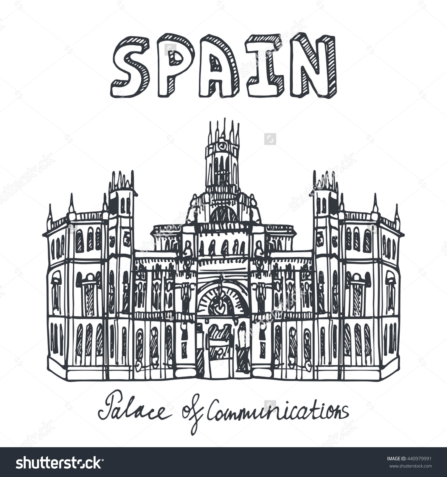 Spain Doodle Landmarks Palace Communicationvector Hand Stock.