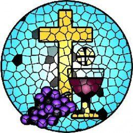 Bread, wine grapes & cross clipart. Use for first communion.