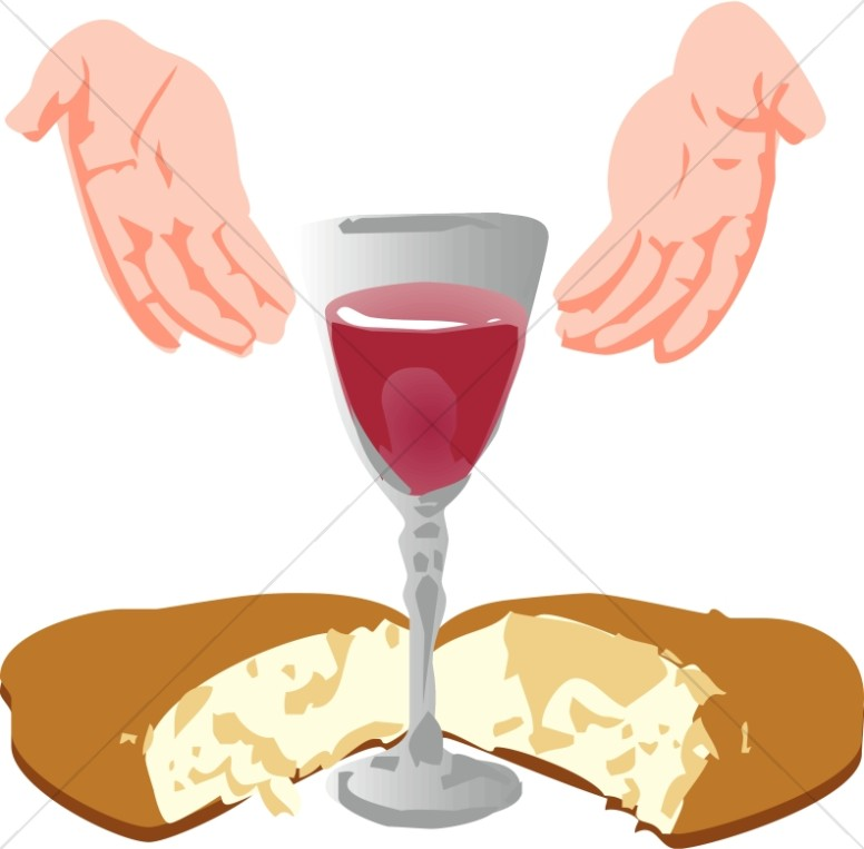 Hands Open Toward Communion Elements.