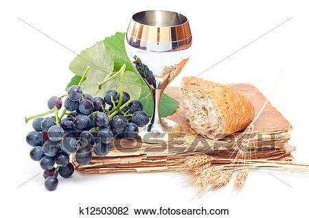 Holy communion elements on white background Stock Image.