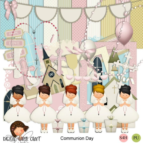 Communion Scrapbook, digital scrapkit, Christian Kit, Communion Papers,  Communion Elements, Instant download, first communion clipart.