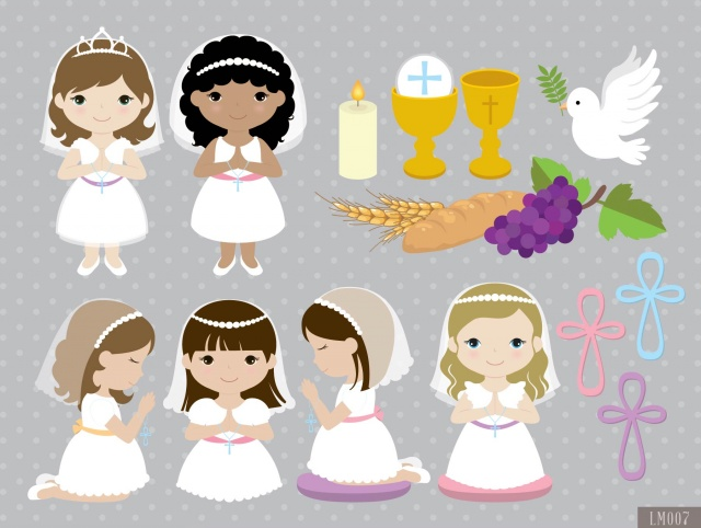 Girl First Communion Digital Clipart and Papers.