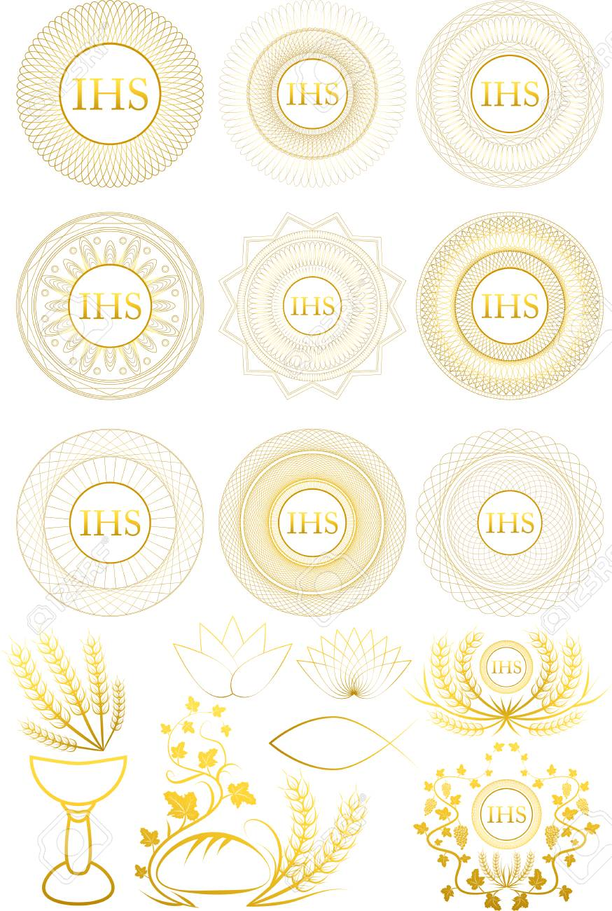 Set of First Communion symbols and elements.