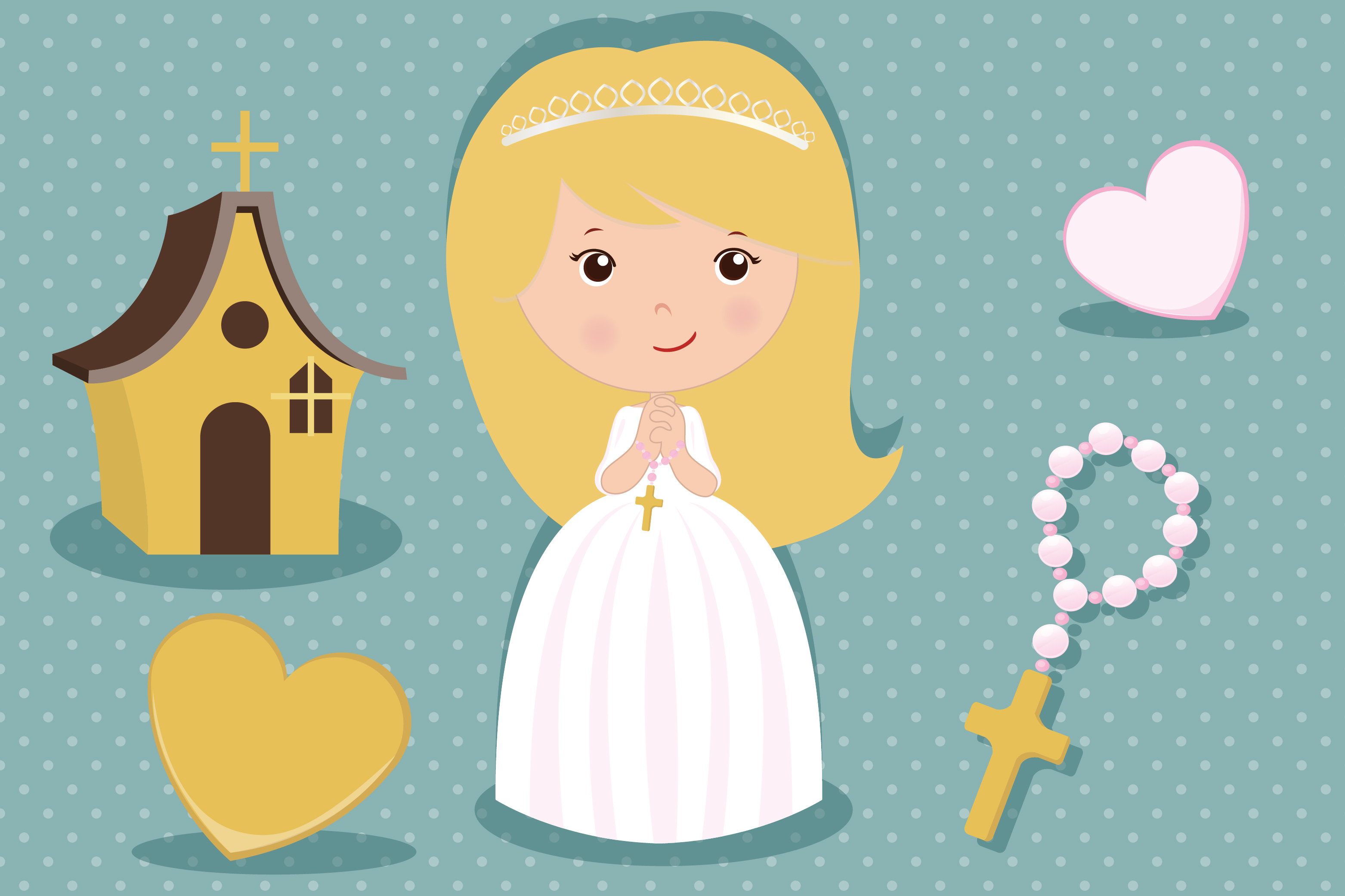 First communion girl clipart, First communion girl graphics.