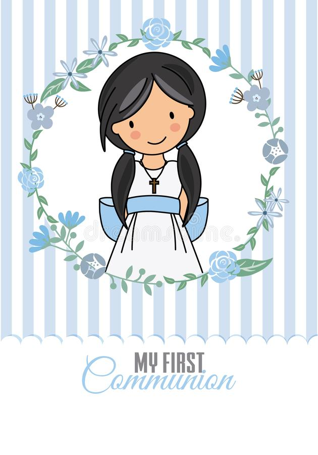 First Communion Stock Illustrations.
