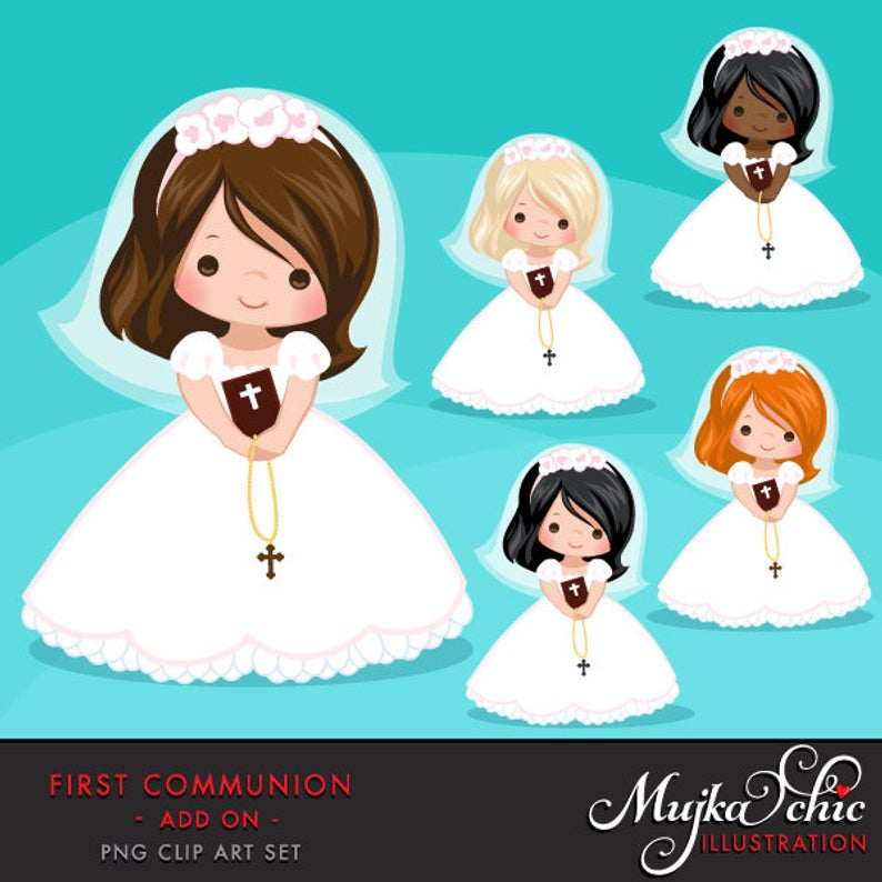 First Communion Clipart for Girls. Communion characters, graphics, bible,  rosary, veil. First Communion Graphics, religious illustrations.