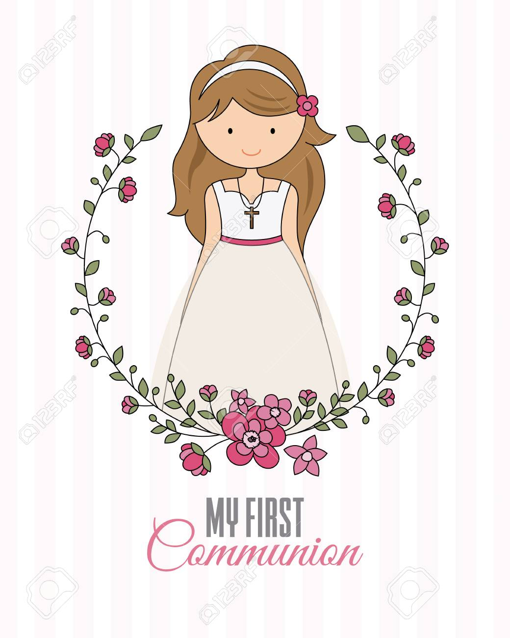 my first communion poster. beautiful girl with communion dress...