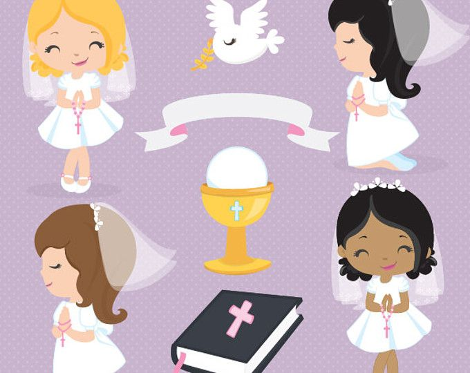 First Communion clipart, Religious clipart, Cute Communion Girls.