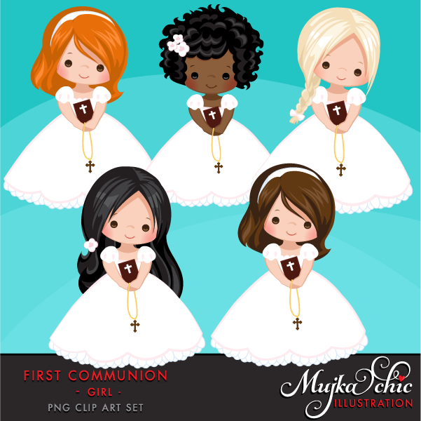 First Communion Clipart for Girls.