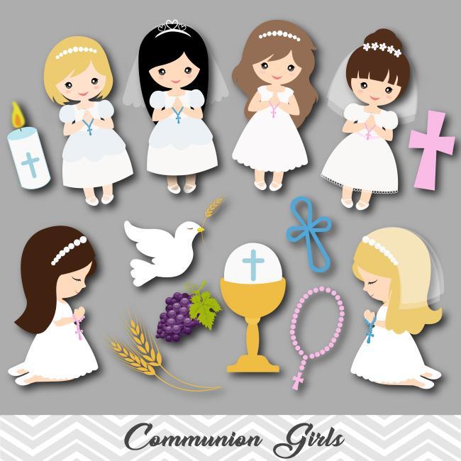 Little Girls First Communion Digital Clip Art, First Communion Girl  Clipart, 00189.